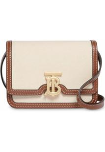 Burberry Bolsa Tiracolo Mini Bicolor - Branco