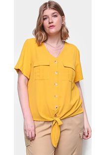 Blusa Plus Size Eagle Rock Amarração Frontal Feminina - Feminino-Amarelo