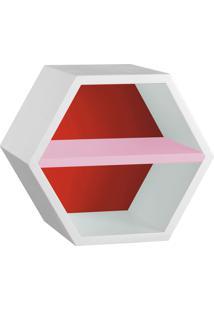 Nicho Com Prateleira Favo 1151 Branco/Vermelho/Rosa Cristal - Maxima