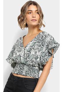Blusa Lily Fashion Cropped Babados Feminina - Feminino-Verde