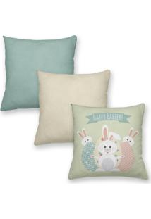 Kit 3 Capas Almofadas Decorativas Own Happy Easter 45X45 - Somente Capa