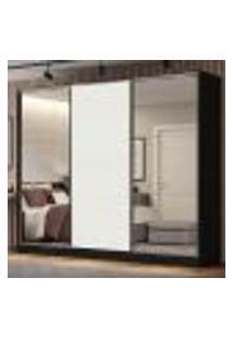 Guarda Roupa Casal 100% Mdf Madesa Royale 3 Portas De Correr Com Espelhos - Preto/Branco