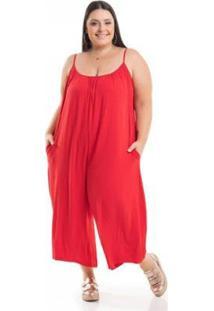 Macacão Miss Masy Plus Size Pantacourt Com Bolsos - Feminino-Vermelho