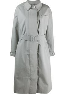 Jacquemus Trench Coat Oversized Com Bolso No Busto - Cinza