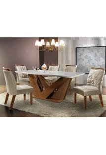 Conjunto Sala De Jantar Mesa Tampo Mdf E 6 Cadeiras Apolo Chanfro Premium Siena Móveis Premio/Pena Bege
