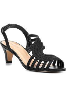 Sandália Shoestock Salto Grosso Curvas Glitter Feminina - Feminino-Preto