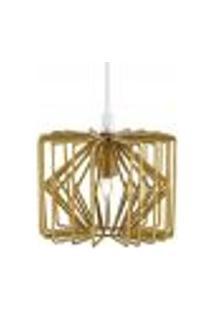 Luminária Lustre Pendente 14X12Cm Metal Dourado