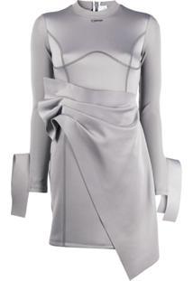 Off-White Vestido Envelope Assimétrico - Cinza