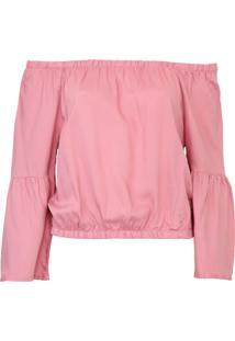 Blusa Cropped Mercatto Ombro A Ombro Rosa
