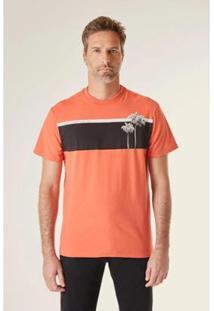 Camiseta Estampada Pf Ilha Faixa Vj Reserva Masculina - Masculino-Laranja