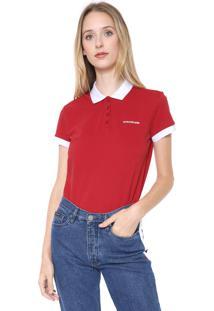 Camisa Polo Calvin Klein Jeans Logo Vermelha