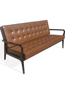 Sofá Anos 50 Madeira Maciça Imbuia Pintura Natural Design Retrô