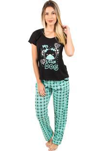 Pijama Bella Fiore Modas Longo Alice Verde Água