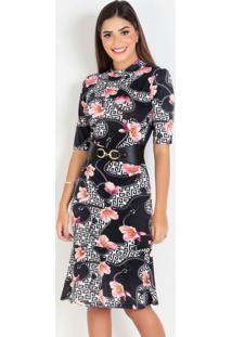 Vestido Tubinho Floral/Correntes Moda Evangélica