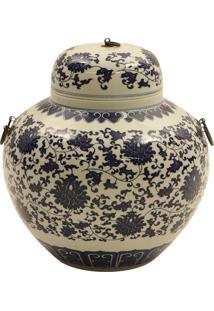 Vaso Decorativo De Porcelana Fushun Com Alça De Metal