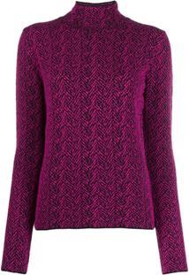 Versace Suéter De Tricô Chevron - Roxo