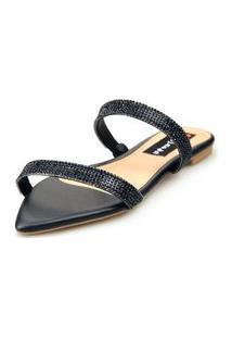 Sandalia Love Shoes Rasteira Bico Folha Strass Delicada Preto