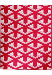 Tapete Andino Geométrico Ii Retangular Polipropileno (65X40) Vermelho