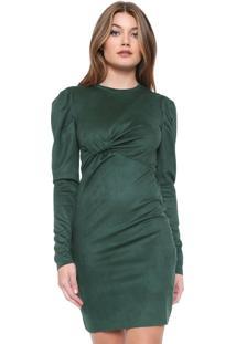 Vestido Colcci Curto Suede Verde