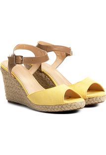 Sandália Anabela Shoestock Lona Feminina - Feminino-Amarelo