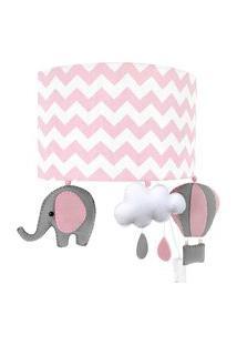 Arandela Potinho De Mel Meia Lua Elefante Balão Rosa Quarto Bebê Infantil Menina