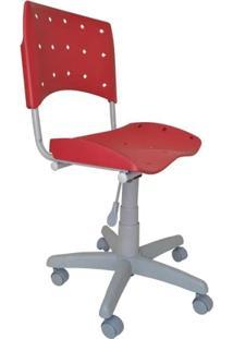 Cadeira Giratória Ergoplax Plástica Base Cinza - Vermelho