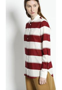 Camisa Listrada Com Seda- Bordã´ & Branca- Lacostelacoste