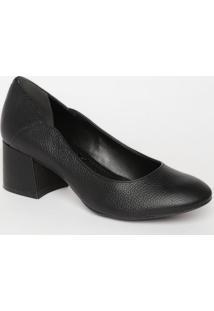 Sapato Tradicional Liso Em Couro- Preto- Salto: 6Cmloucos E Santos