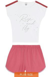 Pijama Branco Feminino Rise And Fly Plus