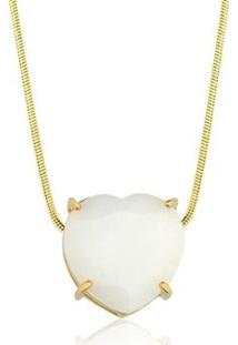 Colar Toque De Joia Coração Pedra Natural Dolomita - Feminino-Dourado