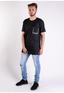 Camiseta Long Molinê Black Bolso Iluminati