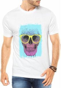 Camiseta Criativa Urbana Caveira Colorida Óculos Divertida - Masculino