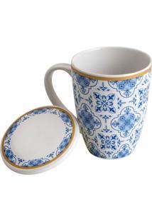 Caneca De Porcelana Super White Com Tampa E Filtro Lisboa Azul E Branca 310Ml Lyor