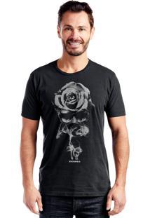 Camiseta Bossa Brasil Rosa Caveira Preto