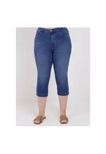 Calça Capri Jeans Plus Size Feminina Azul