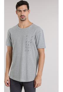 "Camiseta Longa Com Estampa ""Rising Prosperity"" Cinza Mescla"