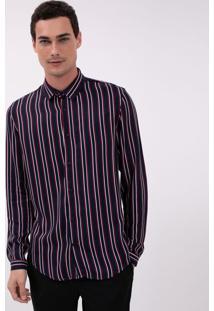 Camisa Manga Longa Com Listras Verticais