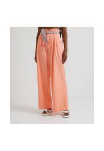 Calça Pantalona Em Viscolinho Com Cinto Faixa Bordado