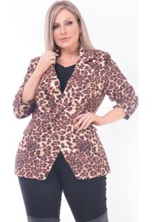 Blazer Animal Print Onça Plus Size: Marrom: 46