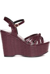 Sandália Plataforma Textura Crocodiles - Marsala Sonho Dos Pés Feminina - Feminino-Vinho