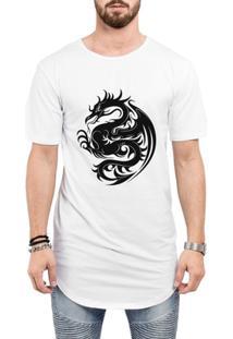Camiseta Criativa Urbana Long Line Oversized Dragão Tribal - Masculino-Branco