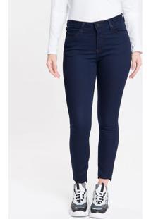 Calça Jeans Feminina Five Pockets Super Skinny Com Stretch Cintura Média Azul Marinho Calvin Klein - 34