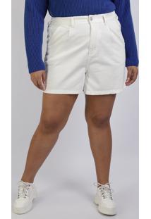 Bermuda De Sarja Feminina Mindset Plus Size Reta Cintura Alta Com Bolsos Off White