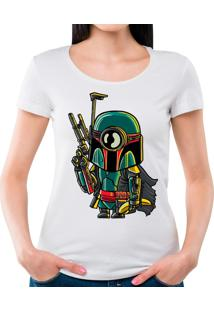 Camiseta Feminina Minion Boba Fett Geek10 - Branco