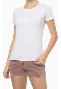 Blusa Feminina Básica Slim Ck Branca Calvin Klein Jeans - Gg