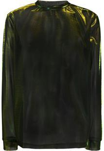 Acne Studios Blusa Furta-Cor Com Mesh - Verde