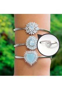 Bracelete Cravejado Com Cristal Azul Leitoso Folheado A Ródio