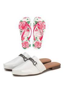 Kit Sapatilha Mule Confort Verniz Branco E Chinelo Feminino