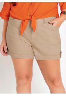 Shorts Plus Size Bege Com Passantes E Bolsos