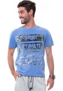 Camiseta D'Affari Estonada Com Estampa Masculino - Masculino-Azul